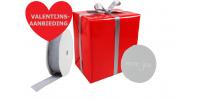 VALENTIJNSAANBIEDING cadeaupapier 30cm., textiellint en etiket Tpd140217